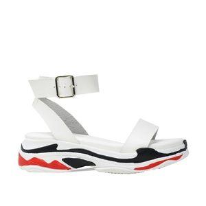 Women's White Sandal Slingback w/Low Platform